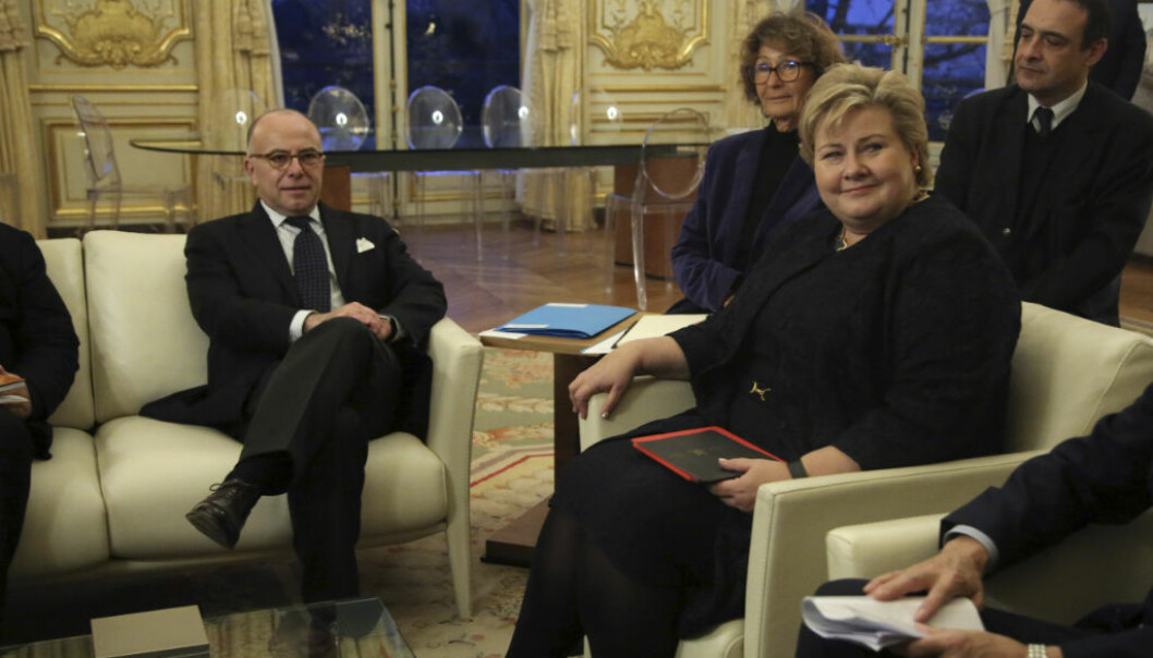 Norwegian Prime Minister Erna Solberg, right, attends a meeting with France's Prime Minister Bernard Cazeneuve, at the Hotel Matignon, in Paris, Tuesday, Jan. 31, 2017. (AP Photo/Thibault Camus)