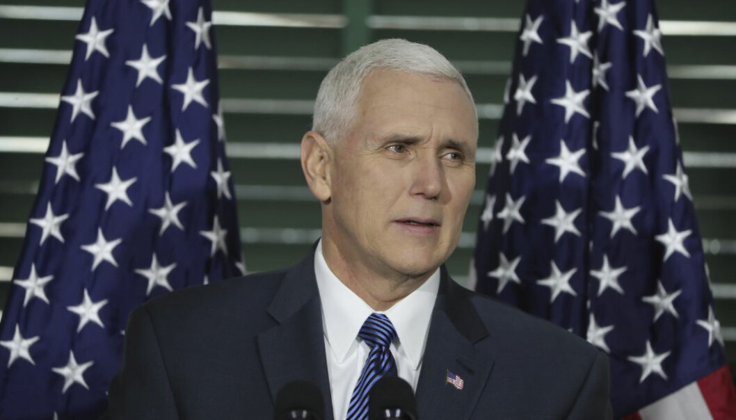 Vice President Mike Pence speaks at Congress Hall in Philadelphia on Saturday, Feb. 4, 2017, on the Constitution, role of the judiciary and the Supreme Court nomination of Neil Gorsuch. The event was hosted by the Federalist Society, a conservative legal group. (David Swanson/The Philadelphia Inquirer via AP, Pool)