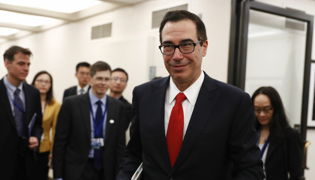 Treasury Secretary Steven Mnuchin arrives for a meeting with Chinese Finance Minister Xiao Jie meet during the G20 at the 2017 World Bank Group Spring Meetings in Washington, Friday, April 21, 2017. (AP Photo/Carolyn Kaster)