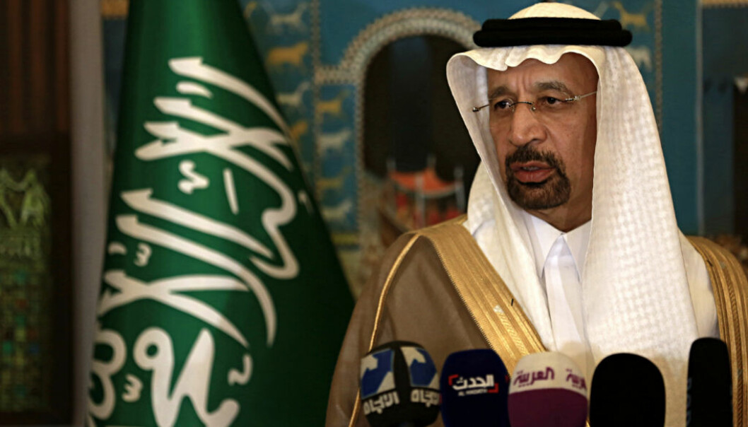 Saudi's Energy Minister Khalid Al-Falih speaks to reporters during a joint press conference with Iraqi Oil Minister Jabar Ali al-Luaibi in Baghdad, Iraq, Monday, May 22, 2017. Al-Falih says he doesn't expect any objections to a nine-month extension to the output cut deal between OPEC and none-OPEC members through March 2018. (AP Photo/Khalid Mohammed)