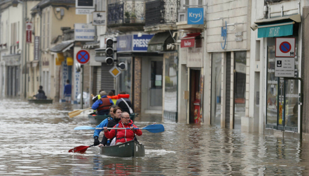 FILE - In this June 2, 2016 file photo residents evacuate their home in Nemours, 50 miles south of Paris.  Floods inundating parts of France and Germany have left five people reported dead and thousands trapped in homes or cars, as rivers have broken their banks from Paris to Bavaria. Scientists say climate change is affecting the timing of river floods across Europe, with the biggest shifts seen along the Atlantic coast. (AP Photo/Francois Mori, file)