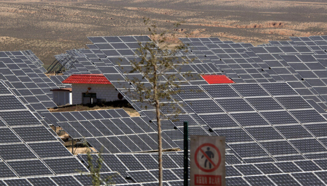 FILE - In this file photo dated Saturday, Oct. 10, 2015, an array of solar panels absorb the power of the sun, in northwestern China's Ningxia Hui autonomous region. A U.N.-backed report released Thursday March 24, 2016, says global investments in solar, wind and other sources of renewable energy reached a record $286 billion last year, and the developing world accounted for the majority of investment for the first time. (AP Photo/Ng Han Guan, FILE)