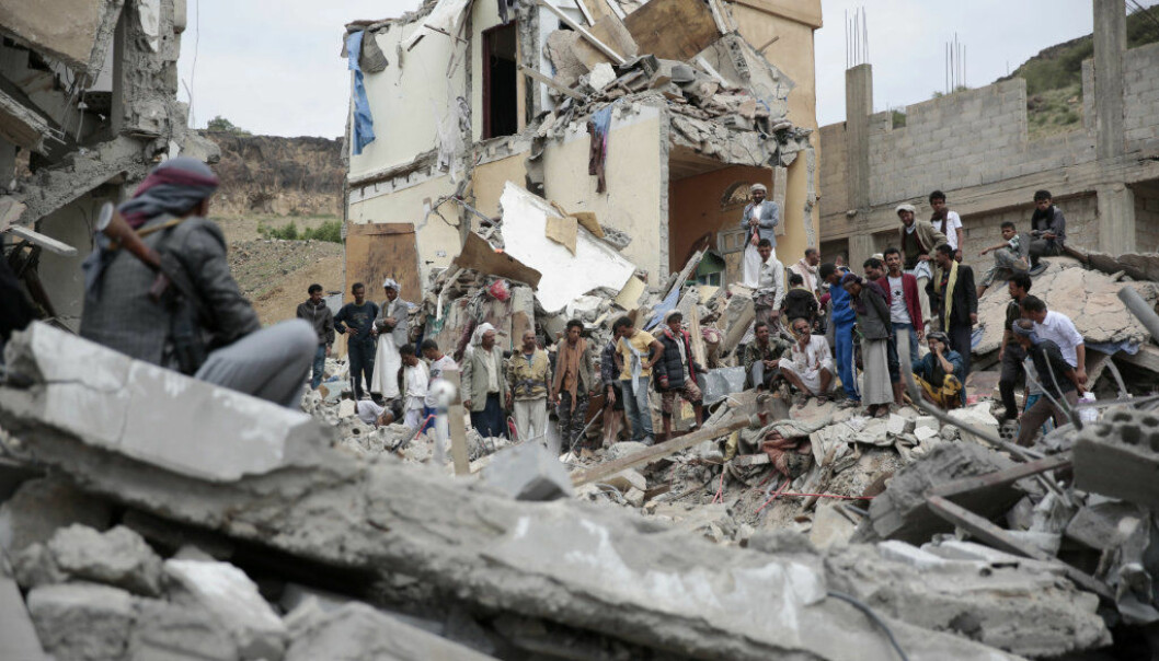 FILE - In this Aug. 25, 2017 file photo, People inspect the rubble of houses destroyed by Saudi-led airstrikes in Sanaa, Yemen. The Monday, Sept. 25, 2017, Kurdish independence referendum in Iraq is the latest in a series of†moves toward formal secession or de facto fragmentation caused by conflict, race or religion in the Middle East. It's a trend viewed with considerable alarm in a region that had seriously flirted with merging its nations in post-colonial years more than a half century ago. (AP Photo/Hani Mohammed, File)