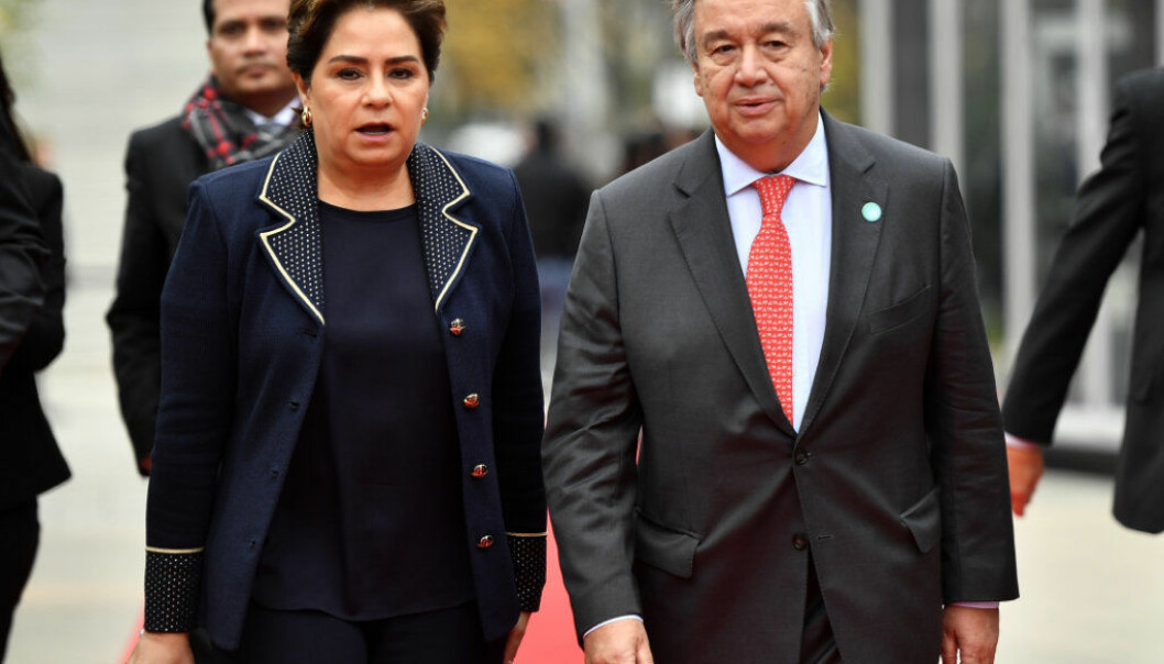 UN Secretary General Antonio Guterres, right, and Patricia Espinosa, executive secretary of the United Nations Framework Convention on Climate Change, arrive during the 23rd Conference of the Parties (COP) climate talks in Bonn, Germany, Wednesday, Nov. 15, 2017. World leaders arrive at the global climate talks in Germany on Wednesday to give the negotiations a boost going into the final stretch. (AP Photo/Martin Meissner)