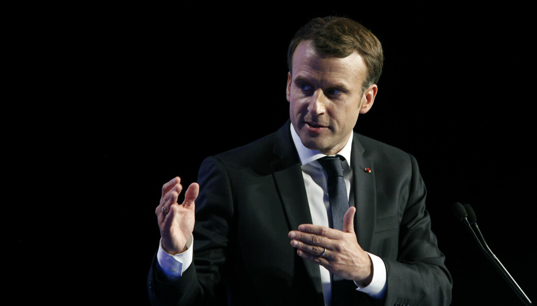 France's President Emmanuel Macron gives his speech during the AMF congress, the annual meeting of French mayors, in Paris, Thursday, Nov. 23, 2017. (AP Photo/Thibault Camus)