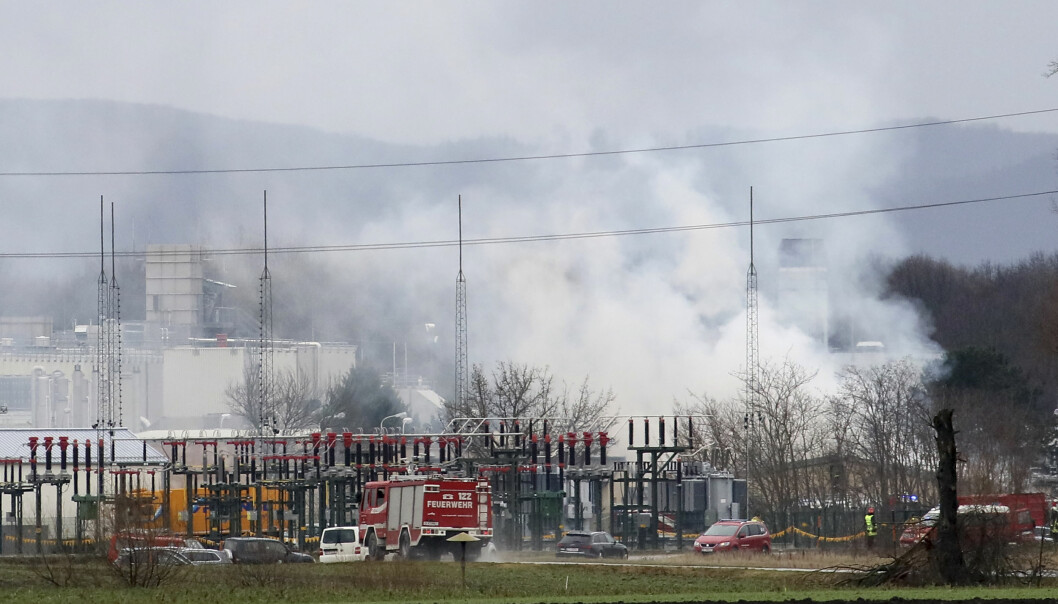Steam rises after an explosion occurred in a gas station near Baumgarten an der March, Austria, Tuesday, Dec. 12, 2017. At least one person was killed and several were injured in the blast. (AP Photo/Ronald Zak)