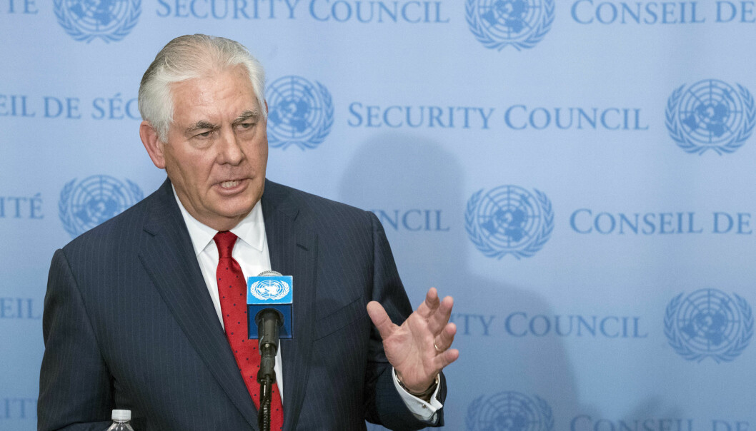 U.S. Secretary of State Rex Tillerson speaks to reporters after a high level Security Council meeting on the situation in North Korea, Friday, Dec. 15, 2017, at United Nations headquarters. (AP Photo/Mary Altaffer)