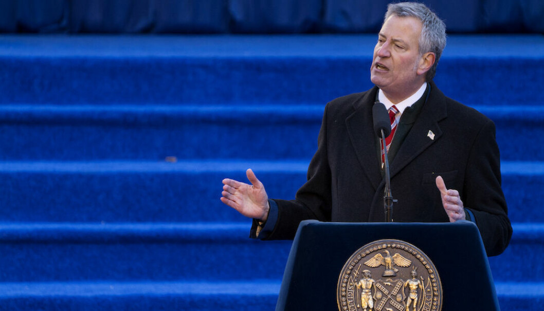 New York Mayor Bill de Blasio speaks after he was sworn in for a second term as mayor at City Hall in New York Monday, Jan. 1, 2018. (AP Photo/Craig Ruttle)