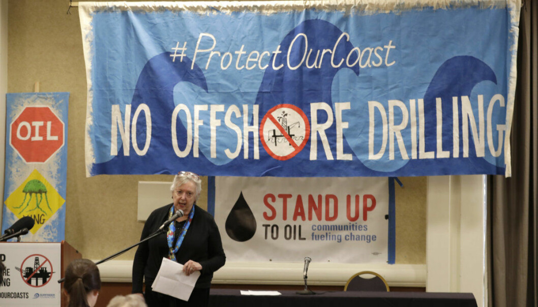 Crystal Dingler, the mayor of Ocean Shores, Wash., speaks Monday, March 5, 2018, at a hearing in Olympia, Wash., organized by a coalition of environmental groups opposed to the Trump administration's proposal to expand offshore oil drilling off the Pacific Northwest coast. The hearing was held on the same day as an open house hosted by the federal Bureau of Ocean Energy Management. (AP Photo/Ted S. Warren)