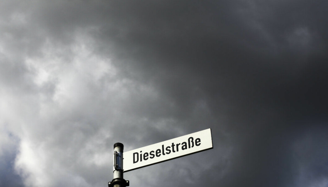 FILE - The  Sept. 29, 2015 photo shows the street sign of the Dieselstrasse (Diesel Street) in Wolfsburg, Germany. The northern German city of Hamburg is going to ban older Diesel cars from two streets to combat air pollution.  (AP Photo/Markus Schreiber, file)