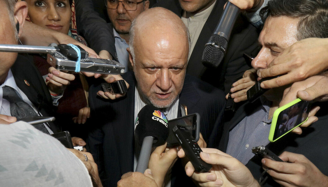 Iran's Minister of Petroleum Bijan Namdar Zangeneh speaks to journalists at a hotel in Vienna, Austria, Tuesday, June 19, 2018. (AP Photo/Ronald Zak)
