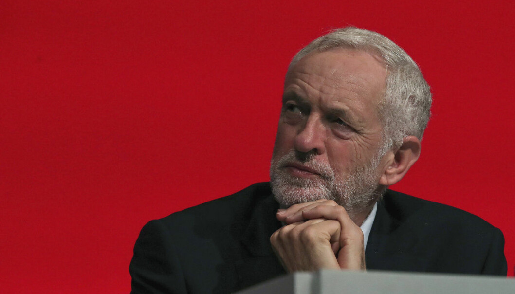 Britain's Labour leader Jeremy Corbyn looks on during the Labour Party's annual conference at the Arena and Convention Centre (ACC), in Liverpool, England, Tuesday Sept. 25, 2018. (Peter Byrne/PA via AP)