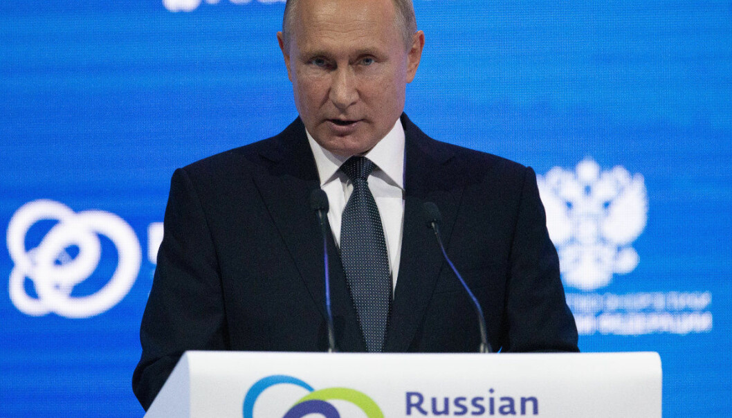 Russian President Vladimir Putin speaks at the Russian Energy Week International Forum in Moscow, Russia, Wednesday, Oct. 3, 2018. (AP Photo/Alexander Zemlianichenko, Pool)