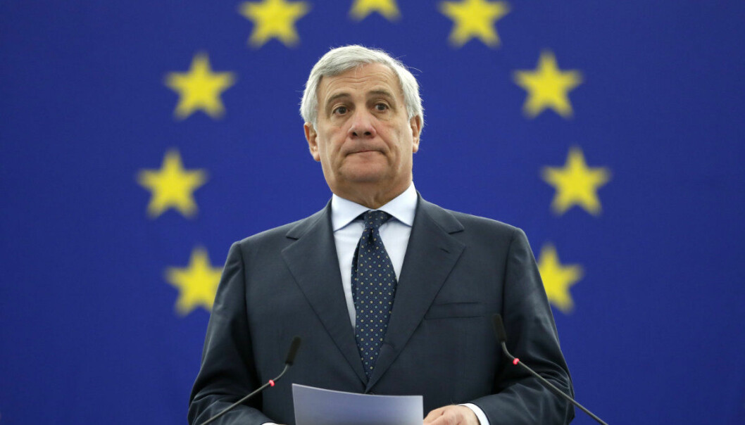 President of the European Parliament Antonio Tajani announces the winner of the Sakharov Prize in Strasbourg, eastern France, Thursday Oct.25, 2018. The European Union has awarded its human rights prize to Oleg Sentsov, a Ukrainian filmmaker imprisoned in Russia accused of plotting acts of terrorism. (AP Photo/Jean-Francois Badias)