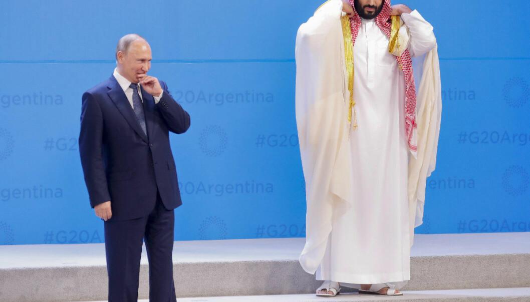 Russia's President Vladimir Putin, left, and Saudi Arabia's Crown Prince Mohammed bin Salman wait for other leaders to arrive for the G20 family photo at the Costa Salguero Center in Buenos Aires, Argentina, Friday, Nov. 30, 2018. (AP Photo/Pablo Martinez Monsivais)
