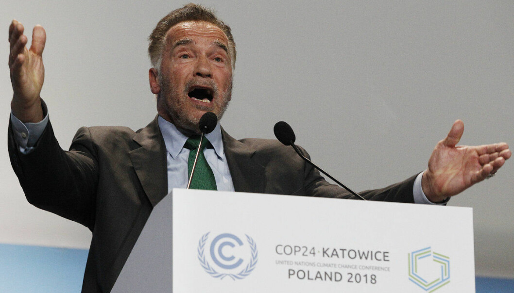 Actor Arnold Schwarzenegger delivers a speech during the opening of COP24 UN Climate Change Conference 2018 in Katowice, Poland, Monday, Dec. 3, 2018. (AP Photo/Czarek Sokolowski)