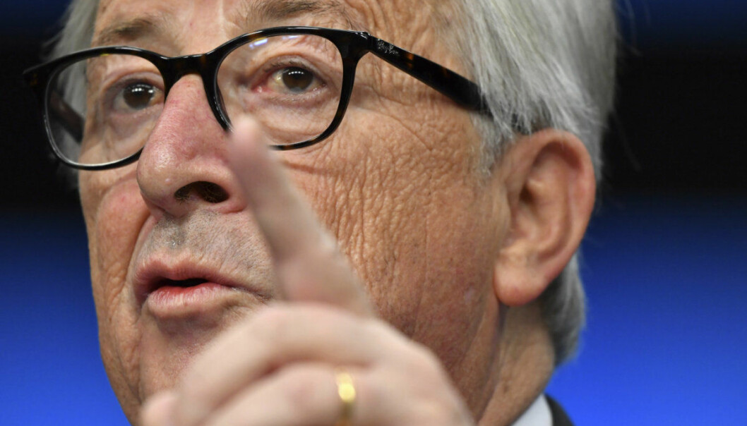 European Commission President Jean-Claude Juncker speaks during a media conference at the conclusion of an EU summit in Brussels, Sunday, Nov. 25, 2018. European Union gathered Sunday to seal an agreement on Britain's departure from the bloc next year, the first time a member country will have left the 28-nation bloc. (AP Photo/Geert Vanden Wijngaert)