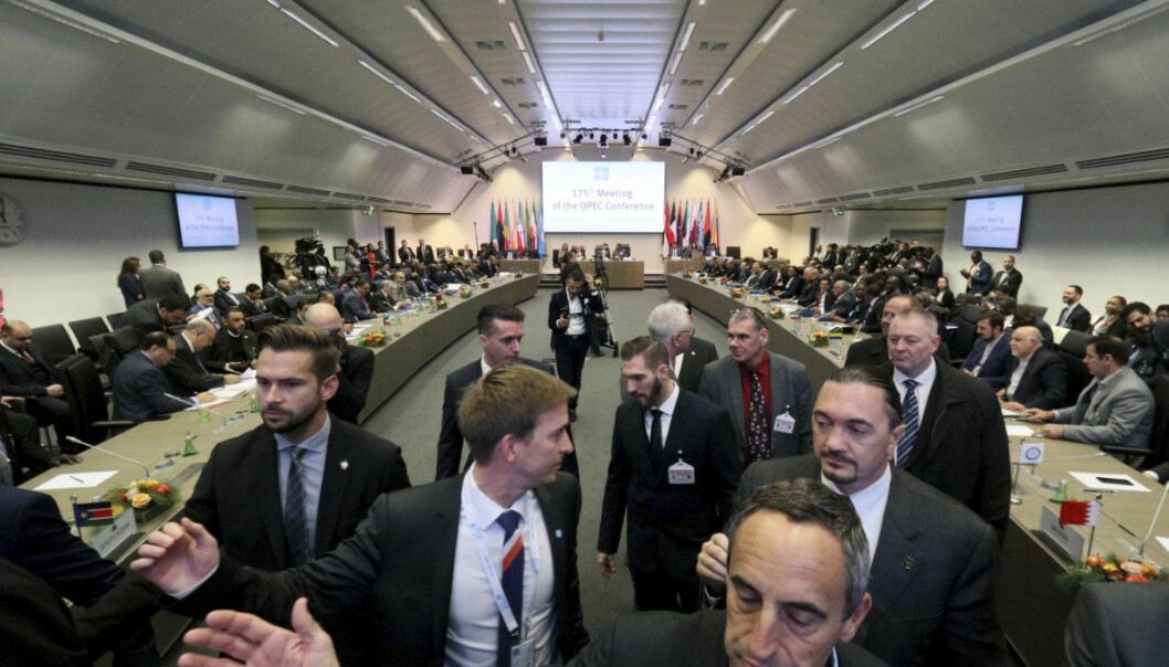 General view of a meeting of oil ministers of the Organization of the Petroleum Exporting Countries, OPEC, at their headquarters in Vienna, Austria, Thursday, Dec. 6, 2018. (AP Photo/Ronald Zak)
