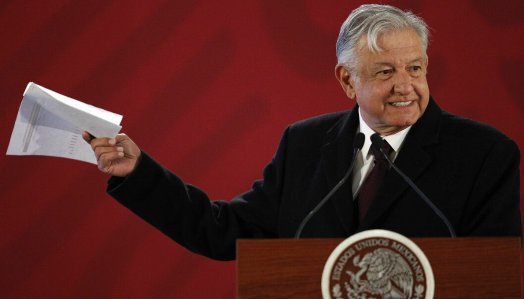 Mexican President Andres Manuel Lopez Obrador gives a press conference in Mexico City, Wednesday, Jan. 9, 2019. Mexico's new president issued an emotional appeal to his countrymen to help battle against fuel thefts, as long lines spread to gas stations in Mexico City. (AP Photo/Rebecca Blackwell)