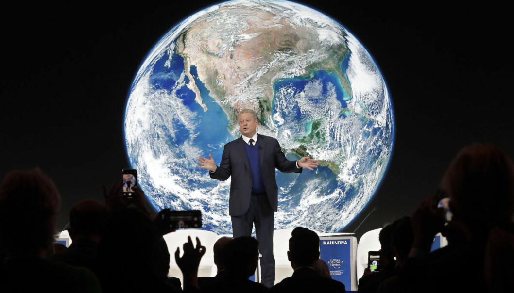 "Al Gore, former vice-President of the United States, speaks during the ""Safeguarding the planet"" session at the annual meeting of the World Economic Forum in Davos, Switzerland, Tuesday, Jan. 22, 2019. (AP Photo/Markus Schreiber)"