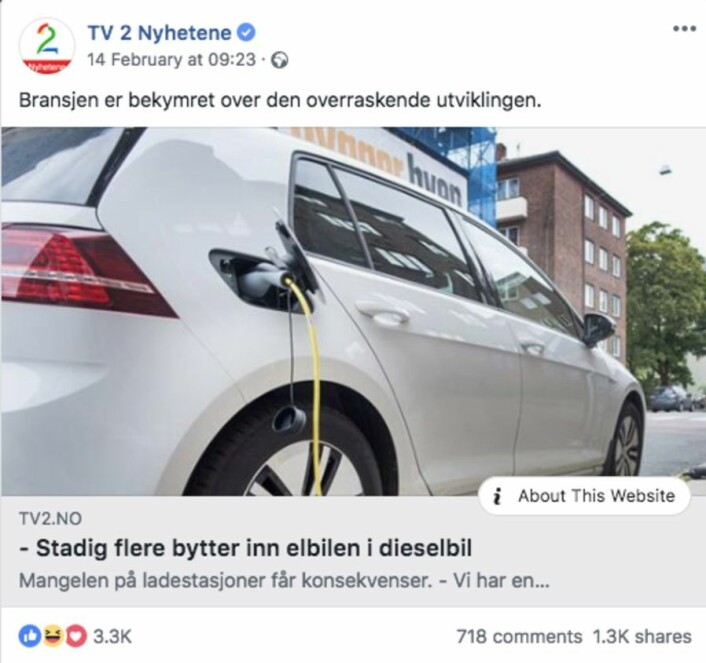 Skjermdump: TV 2 på Facebook