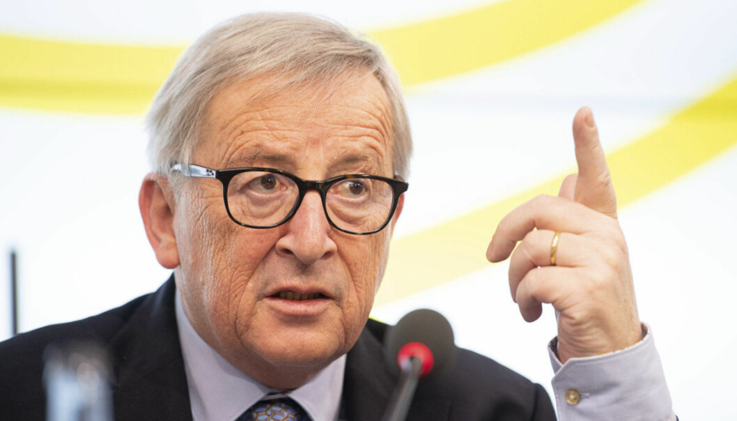 Jean-Claude Juncker, President of the European Commission, speaks during a visit to the Landtag of Baden-Württemberg, Tuesday, Feb. 19,2019, in Stuttgart, Germany. The European Union on Tuesday warned British Prime Minister Theresa May that her trip to EU headquarters to seek an elusive breakthrough in Brexit negotiations stands no chance of success when it comes to her central demand for the divorce deal to be reopened. (Sebastian Gollnow/dpa via AP)