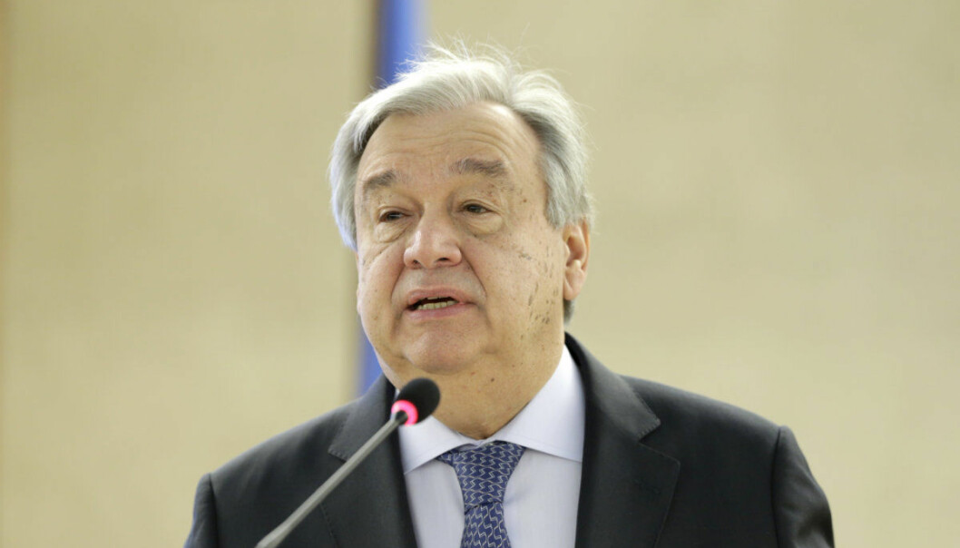 U.N. Secretary-General Antonio Guterres speaks during the opening of the High-Level Segment of the 40th session of the Human Rights Council, at the European headquarters of the United Nations in Geneva, Switzerland, on Monday, Feb. 25, 2019. (Salvatore Di Nolfi/Keystone via AP)