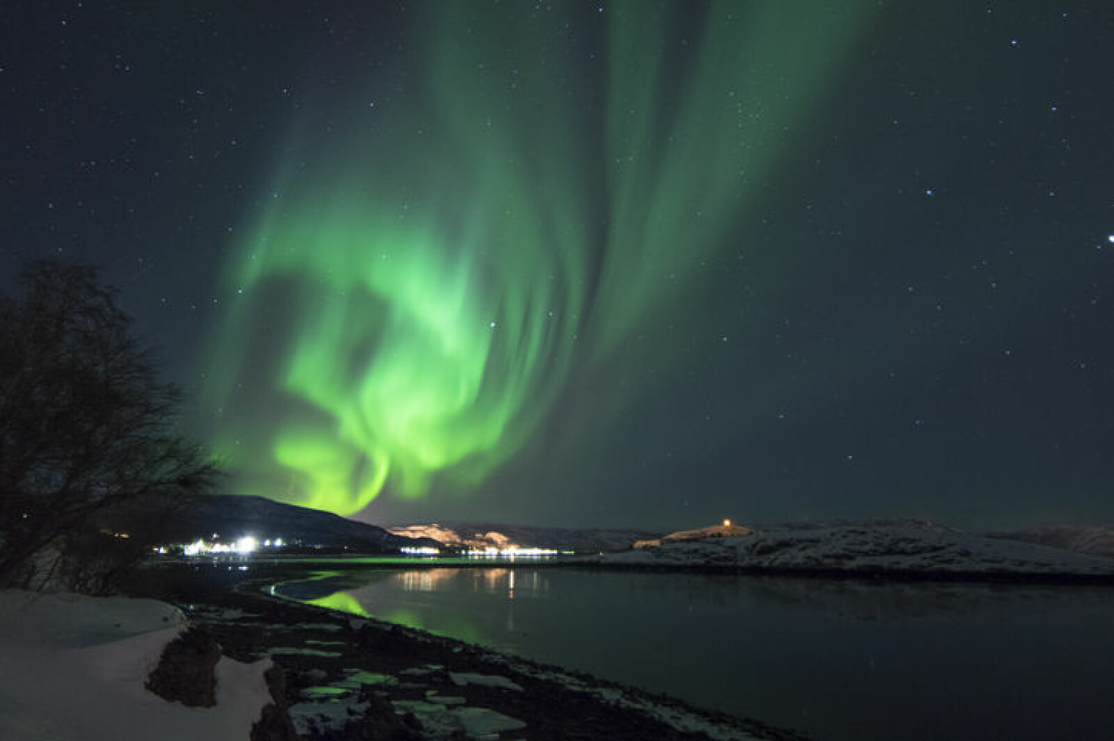 Northern Lights appear in Alta, the biggest northernmost city of Norway.
